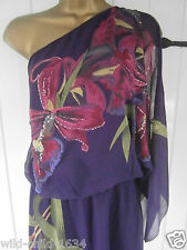 KAREN MILLEN 10  RICH PURPLE HAND PAINTED ORCHID SILK ONE SHOULDER DRESS 6 38