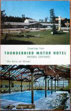 1960s Chrome Postcard: 'Thunderbird Motor Hotel - Dryden, Ontario, Canada'