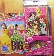 Disney Princess school supplies Pencils Erasers Journal Stickers Belle Aurora pb