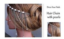 Hair Chain with Pearls - Silver - Head Band Accessory Bridal Jewellery - uk