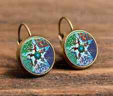 1 pair wiccan Seasons totem bronze glass cabochon18 mm Lever Back Earrings #469