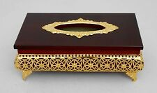 Home / office/ wood tissue box holder decorated with resin # 1669