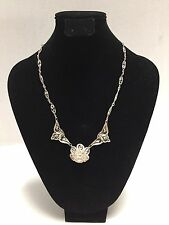 "Antique Victorian Filigree Silver Necklace Italian? 17"" Dainty Delicate"