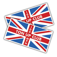 2x Ton up club union jack stickers, 90 x 46mm cafe racer, bike