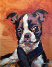 Oil Painting Original Pet Portrait on Canvas Boston Terrier Dog Puppy Signed