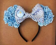 Disney Cinderella Inspired Blue Rose Floral Minnie Mouse Ears Headband