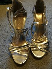 Aldo High Heels Silver Leather Strappy Stilettos Sz 8.5