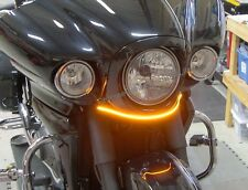 Kawasaki Vaquero White LED Front Turn Signal Light Bar Kit, Smoke Lens  '09-'15