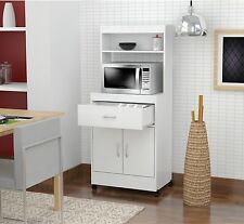 White Utility Kitchen Microwave Cart With Storage Drawers N Cabinet Shelf Space