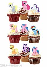 24 PRETAGLIO MY LITTLE PONY ALZARE COMMESTIBILE COMPLEANNO CUPCAKE WAFER