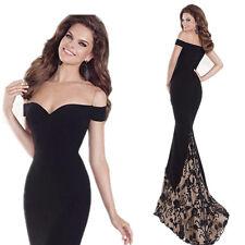 Evening dress prom womens bridesmaid wedding formal gown w train  size 6 Black