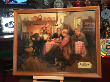 34 x 27 Framed 1940s READING BEER Framed Poster-Board Advertisement WATCH VIDEO