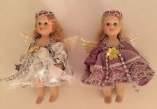 "VINTAGE Lot Of 2 Porcelain Angel DOLLS Small 4"" With Wings Doll"