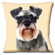 "Tedesco Schnauzer Cane Close Up Foto Stampa Testa Crema 16"" CUSCINO COVER"