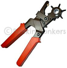 HEAVY DUTY REVOLVING LEATHER HOLE PUNCH PUNCHER BELT EYELET PLIER TOOL 6 SIZES