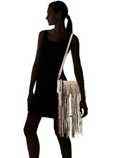 Linea Pelle BO Fringed Woven Beaded Convertbl Clutch/Shoulder Bag~TAUPE~$325~NWT