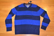Tommy Hilfiger V-Neck Striped Sweater Men's Size: Large  Color: Peacoat Blue NWT