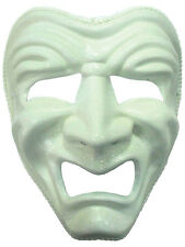 DLX Sad Mask White Greek Masquerade Comedy Play Fancy Dress Stage Mardi Gras