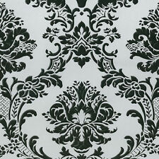 Black on Silver Victorian Damask MD29433 Wallpaper Double Roll FREE SHIPPING