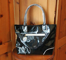 Estee Lauder Black Shiny Slick Faux Patent Leather Tote Bag & Makeup Clutch PVC