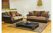 Sally 3+2 seasonal sofa set leather arms fabric seating and scatter cushions