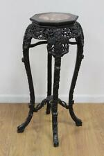 """Antique~CARVED 36"""" WOOD&MARBLE CHINESE/ASIAN/ORIENTAL PLANT STAND/TABLE"""