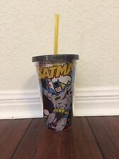DC Comics Batman Clear Plastic Travel Drink Cup With Straw NEW
