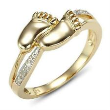 Natural Baby Feet Real Diamond 9ct 9K 375 Solid Gold Ring - Real Solid Gold