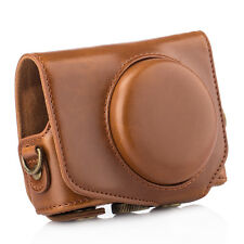 New PU Leather DSLR Camera Case Protective Bag Cover for Canon G7X Mark II Brown