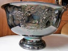 """Vintage Massive SilverPlate Punch Party Bowl 15"""" Wide .8.25"""" Tall Floral Design"""