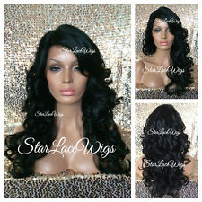 Human Hair Blend Curly Wavy Lace Front Wig Side Part Off Black #1b Heat Safe Ok