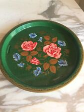 Vintage Tin Tray Pink RosesBlue Morning Glory MTM Made In England