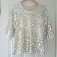 BY MALENE BIRGER SILVER & CREAM SEQUINNED *LONTRAS* TOP ~ SIZE SMALL ~ AWESOME!
