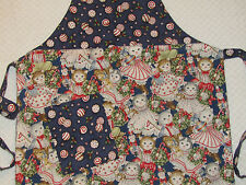 CHILD'S CHRISTMAS FULL APRON 2 Fabrics ~Lined~ Kittens in Clothing w/Toys Blue