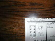 1979 Dodge Plymouth & Chrysler Code L (5.9 Liter) 360 V8 4BBL SUN Tune Up Chart
