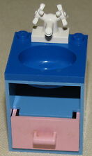 LEGO BLUE BATHROOM SINK SET UP BLUE TOP PINK CUPBOARD AND WHITE FAUCET