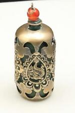 Antique Chinese Export Jade Serpentine Dragons Snuff Bottle Silver Metal