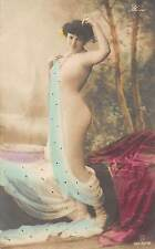 Lady Nude Illusion Tinted Real Photo Antique Postcard (J26973)