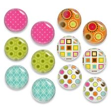 24pcs (12 Pairs) Glass Graphic Mix Round Cameo Cabochon 12mm - Group D