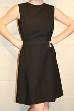 S~M CHIC Fit Flare Vtg 60s RANELLE Rhinestone Brooch Black Cocktail Party Dress