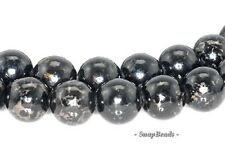 8MM GOLDEN INTRUSION OBSIDIAN GEMSTONE BLACK GOLD ROUND 8MM LOOSE BEADS 16""