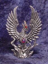 Pewter PHOENIX Rising from Flames with RED Crystal Accents