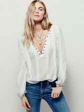 NWT FREE PEOPLE SzM AGAINST ALL ODDS STRIPED SILVER LONG SLEEVE SHIRT IVORY$128