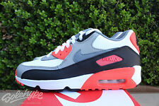 NIKE AIR MAX 90 LTR GS SZ 7 Y WHITE COOL GREY MEDIUM GREY INFRARED 833412 102