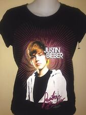 JUSTIN BIEBER GLITTER  LADIES FITTED size 12 T- SHIRT  2009 pop OUT OF PRINT