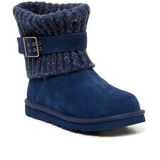 RP$169 UGG Australia Cambridge Knit UGGpure Lined Boots Booties Blue Navy sz 5