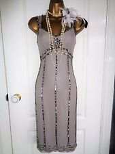 Beads & sequin 1920's flapper style silk dress UK 10 US 6 EU 38 Gatsby Downton