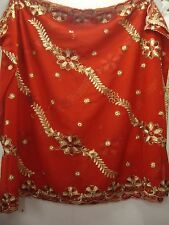 Vintage Red and Gold Dupatta Indian Scarf Embroidered Sarong Veil Stole Hijab