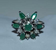 BEAUTIFUL VINTAGE  JADE & DIAMOND   *ESTATE* HALLMARKS 14k WHITE GOLD