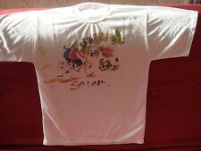 Women's White T-Shirt Saigon Vietnam 100% Cotton Size Medium Handpainted Bicycle